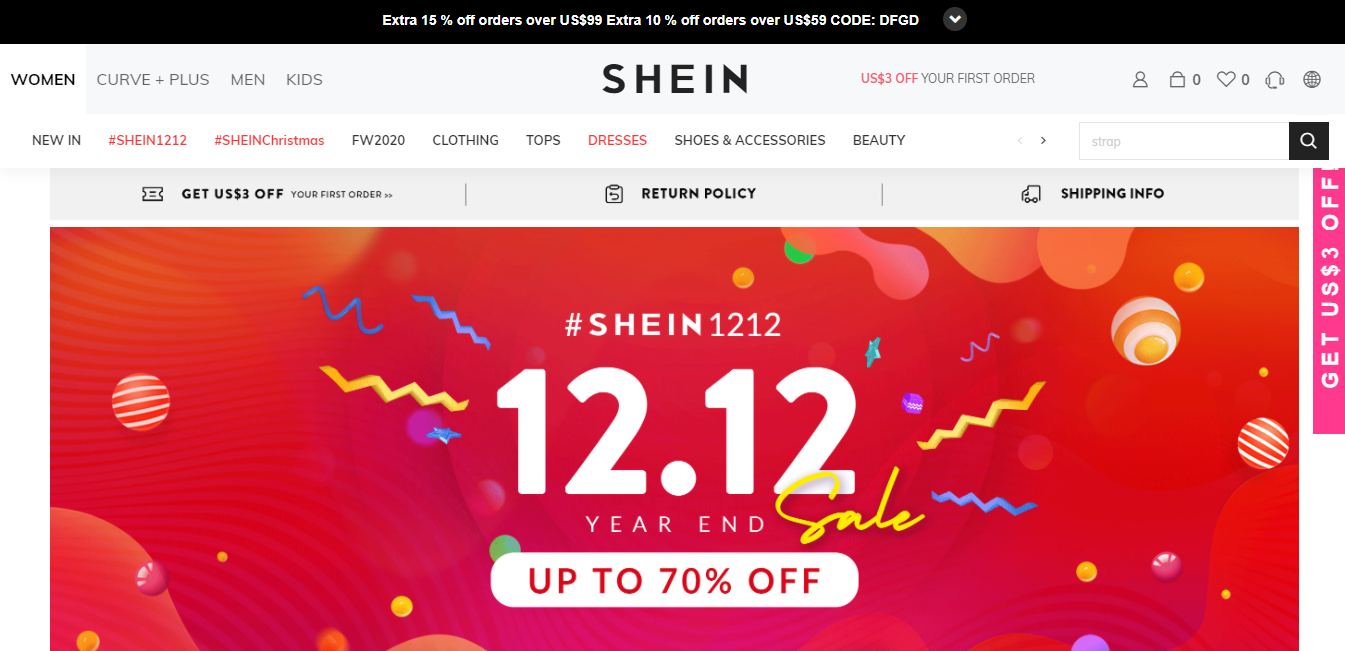 SHEIN Many GEOs. Earn up to 5% Cashback