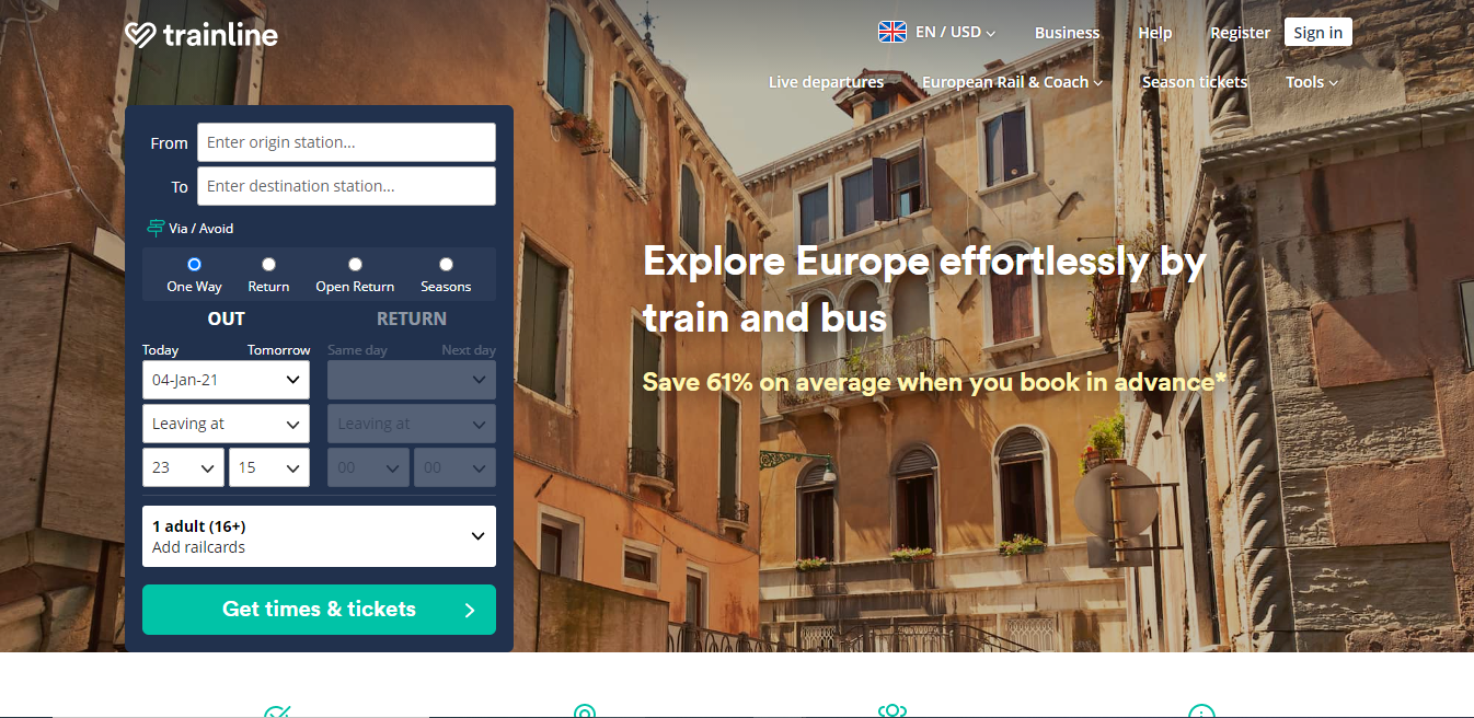 Trainline. Earn up to 0.15% Cashback